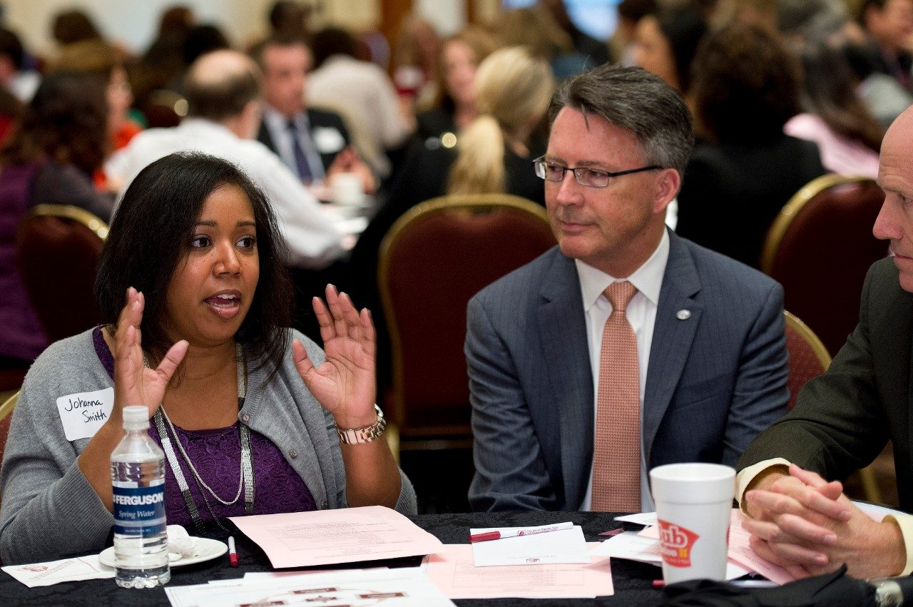 Virginia Tech President Tim Sands participates in a forum on inclusion and diversity