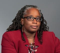 Vice President for Strategic Affairs and Vice Provost for Inclusion and Diversity Menah Pratt Clarke in her office